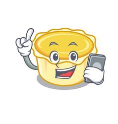 With phone egg tart character cartoon vector
