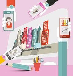 Woman - Girl Work Interface - Web Deign Template - vector image