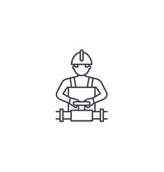 Worker spinning the valve line icon sign vector