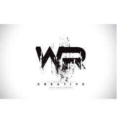 Wr w r grunge brush letter logo design in black vector