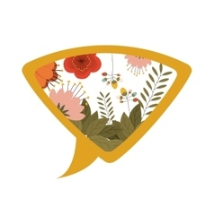 Yellow silhouette dialog with flowers vector