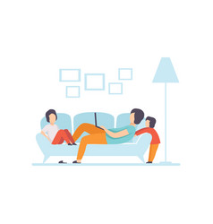 Young mother lying on sofa and working on laptop vector