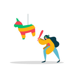 Young woman with mexican birthday pinata concept vector