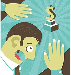 Businessman possessed by money greed vector image vector image