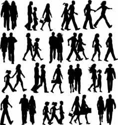 people walking silhouettes vector image vector image