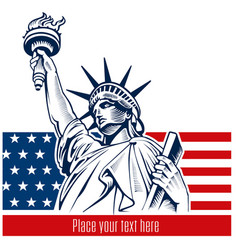 statue of liberty nyc usa flag and symbol vector image