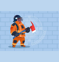 african american fireman holding hammer wearing vector image vector image