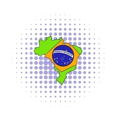 Brazil map and flag icon comics style vector image vector image