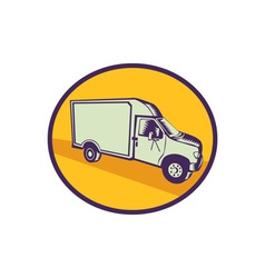 Closed Delivery Van Woodcut vector image