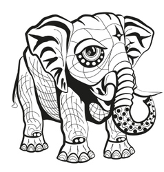 Hand drawn ornate elephant vector image