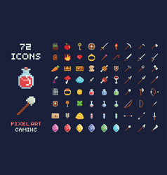 pixel art game design icon video game vector image
