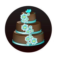 big delicious chocolate cake vector image vector image