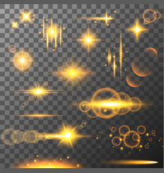 collection of different flare light effects lens vector image vector image