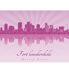 Fort Lauderdale skyline in purple radiant orchid vector image vector image