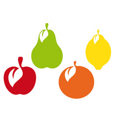 fruit icon collection group of different fruit vector image vector image