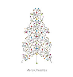 greeting card with christmas tree vector image vector image