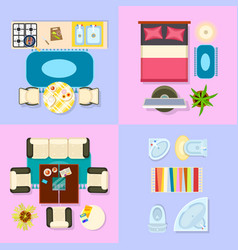 interior set of living space vector image