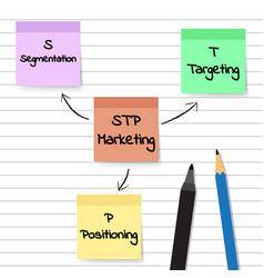 stp marketing diagram - sticky notes vector image