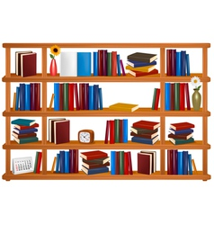 wooden bookshelves vector image