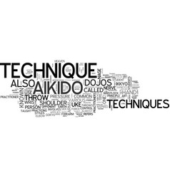 aikido technique text word cloud concept vector image