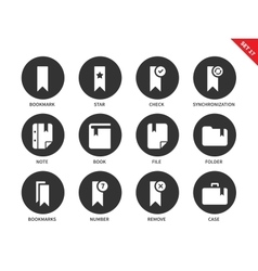 Bookmark icons on white background vector image vector image
