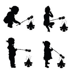 children make barbecue on fire silhouette vector image