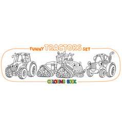 Funny small tractor set with eyes coloring book vector