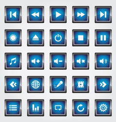 Media square button blue vector image