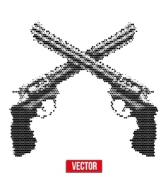 Revolvers vintage halftone style vector image