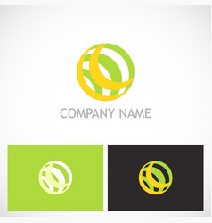 round sphere line technology logo vector image