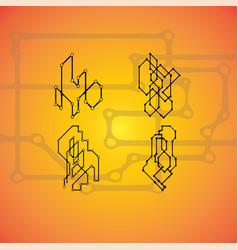 set of 4 mechanical schemes engineering vector image