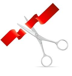 Silver Scissors Cut Red Ribbon vector image