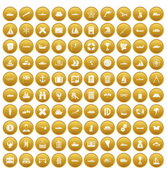 100 shipping icons set gold vector