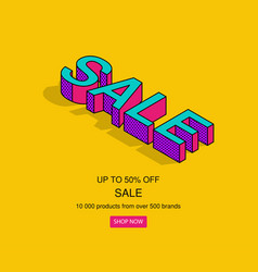 3d isometric pop art sale text vector image