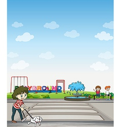 A child with her dog across playground vector