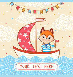 a fox sails on a festive sailboat by the sea vector image