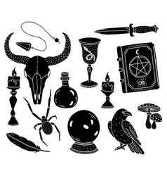 a set magical and mystical symbols occult and vector image