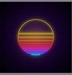 abstract neon sun sign 80s retro sunset vector image
