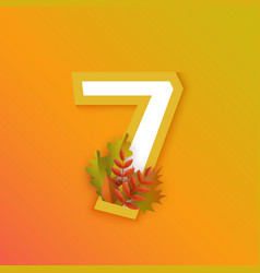 autumn seven 7 number with forest leaves vector image