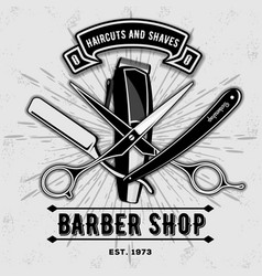 Barber shop vintage label badge or emblem vector