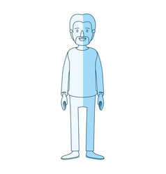 Blue silhouette shading cartoon full body male vector