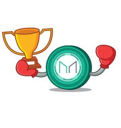Boxing winner maker coin mascot cartoon vector