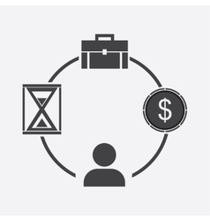 Business icon businessman time money portfolio vector