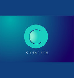 C letter logo icon design with paper cut creative vector