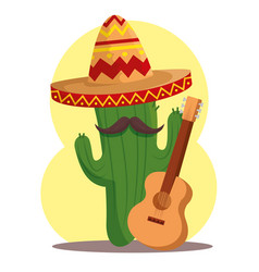 cactus plant with hat and guitar to day of the vector image