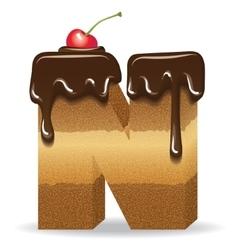 Cake letter N- birthday font vector