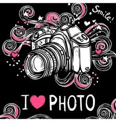 Camera Design Black Background vector image