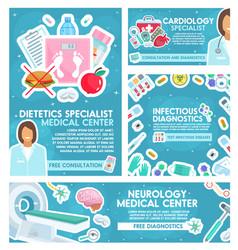 Cardiology dietetics and neurology medicine vector