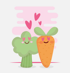 carrot and broccoli in love menu character cartoon vector image