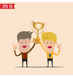 Cartoon business man hold winner cup - - EPS vector image